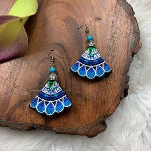 Blue Floral Embroidered Statement Earrings